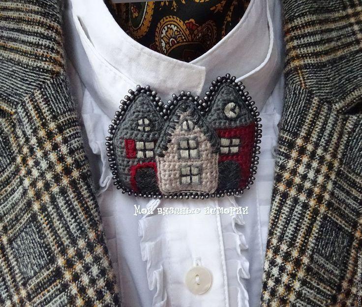 Купить Брошь вязаная вышитая Разноцветная Голландия 3 - серый, брошь для души, необычное украшение