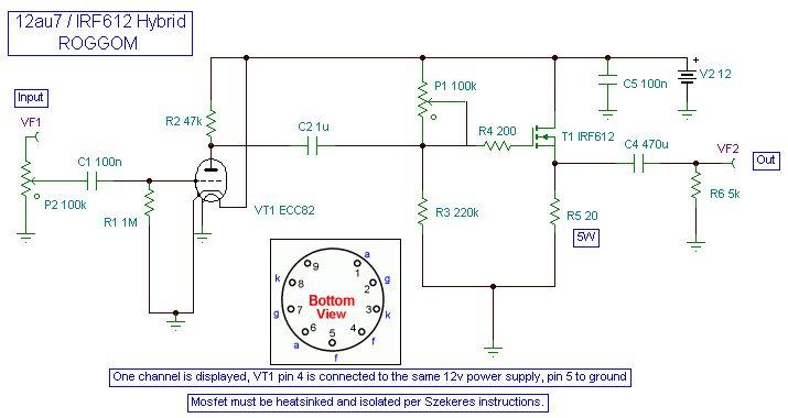 12au7 tube irf612 mosfet headphone amp schematic bulbo. Black Bedroom Furniture Sets. Home Design Ideas