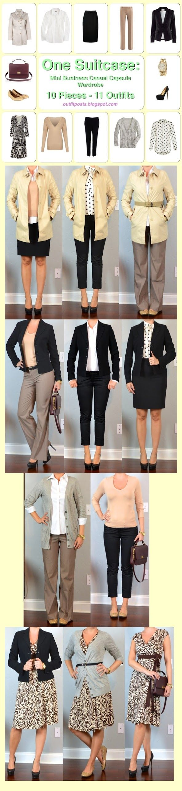 Outfit Posts: one suitcase: mini business casual capsule wardrobe - now I just have to find these things that are probably already in my closet!