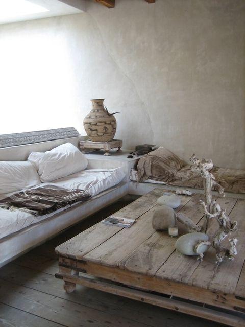 Home Tour - Philip Dixon via Apartment Therapy - white sofa, reclaimed wood table, Moroccan type interior, driftwood Wabi Sabi