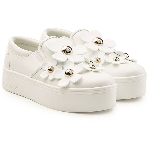 Marc Jacobs Leather Platform Sneakers (15.605 RUB) ❤ liked on Polyvore featuring shoes, sneakers, white, leather slip on shoes, slip-on shoes, white sneakers, platform shoes and leather sneakers