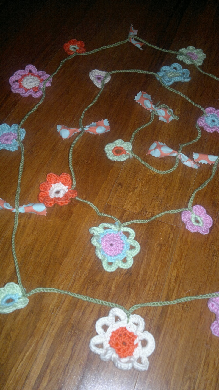 Flower Garland made using Amy Butler yarn - pattern from recent Mollie Makes magazine