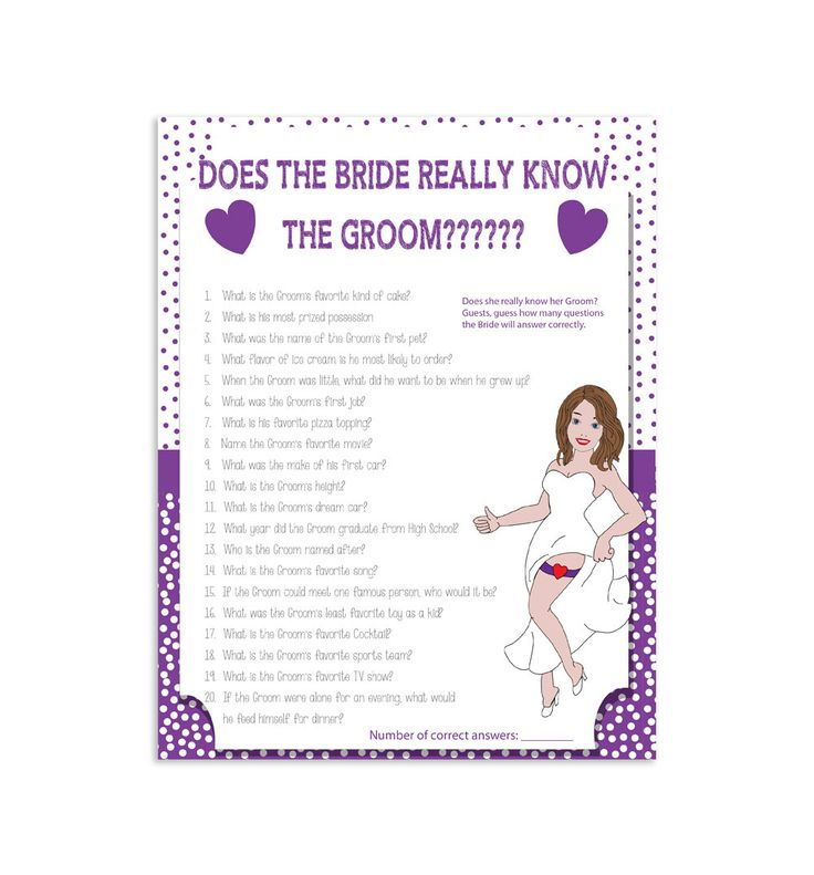 "Printable Wedding Shower Game ""How Well Does The Bride"