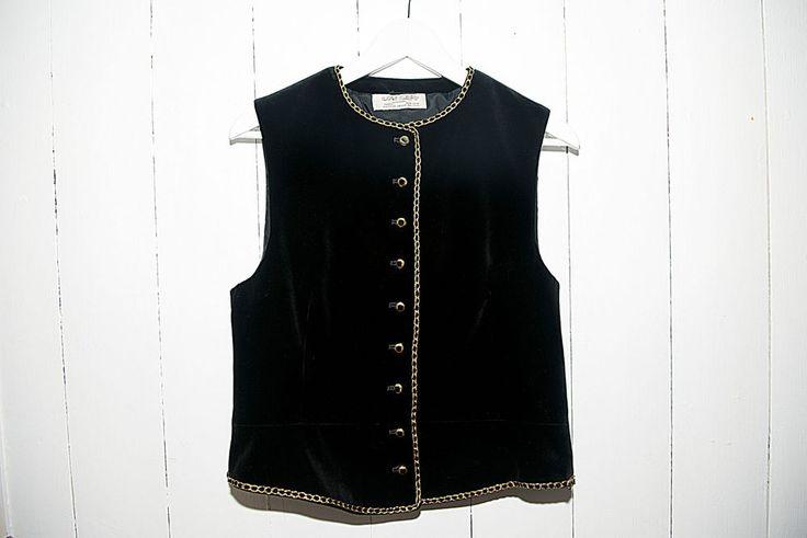 Vintage Jaeger Black Velvet Button Up Waistcoat - Gold Trim - UK 14 - Made in UK