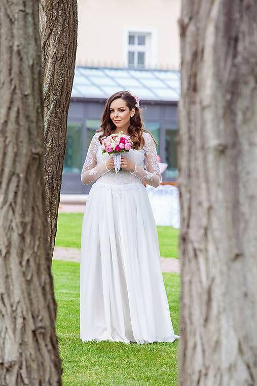 mara.zb / ľahučké splývavé vílovské šaty s dlhým rukávom