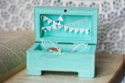 Купить Шкатулка для колец - бирюзовый, шкатулка для колец, свадьба, свадебные аксессуары, свадебное украшение, подарок