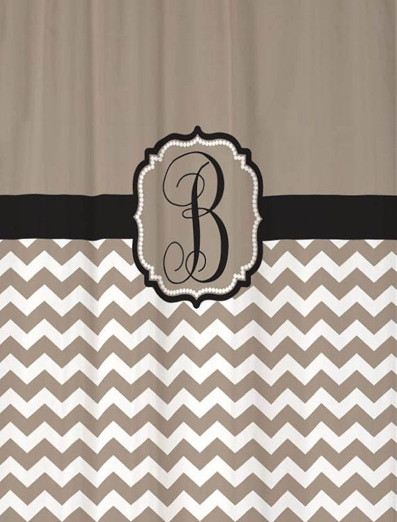 Shower Curtain Taupe Half Chevron with Black Accents 69x70 Monogrammed Personalized Custom for your Bathroom via Etsy