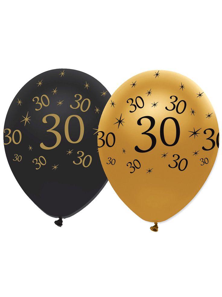 6 Globos de látex negro y dorado 30 años: Este lote incluye 6 globos de cumpleaños.Hay 3 globos dorados y 3 globos negros.Los globos tienen el número 30 en diferentes tamaños.Se pueden utilizar con helio o bomba de...