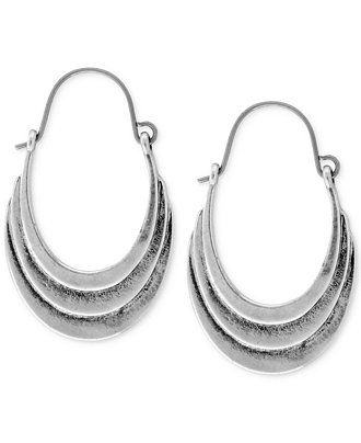 Lucky Brand Silver-Tone Antiqued Hoop Earrings - Jewelry & Watches - Macy's