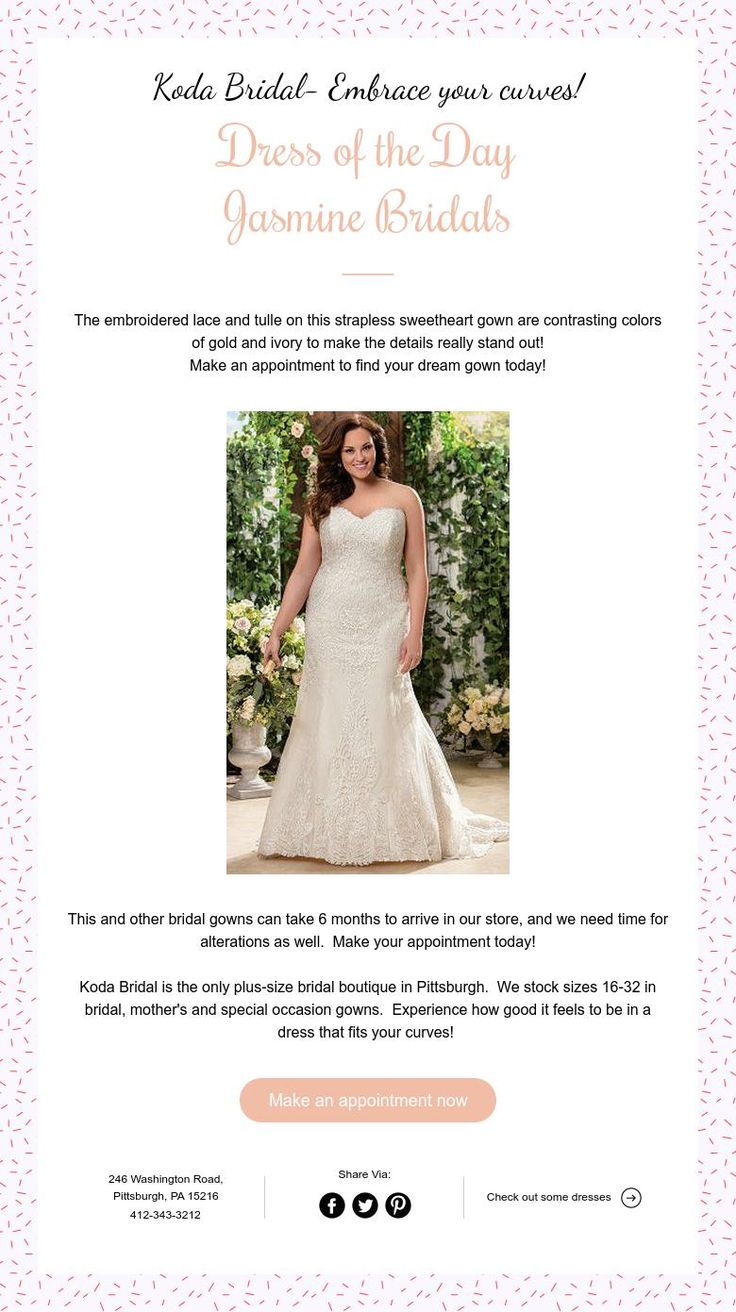 Koda Bridal Embrace Your Curves Dress Of The Day Jasmine Bridals