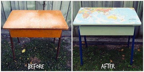 13 best home made upcycled stuff images on pinterest desks world map school desk gumiabroncs Gallery