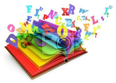Sticker Brieven vliegen van een open boek. Magische boek. Sprookje