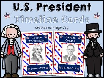 US President Flash Cards & Timeline Activity These flash cards include the name, picture, and dates of service of every U.S. president. The cards can be printed, cut, and laminated for students to arrange in order as a timeline. They also make excellent posters or