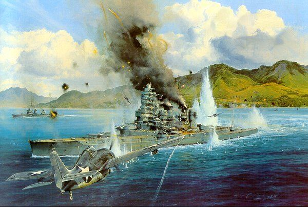 """Attack on the Hiei"" by Robert Taylor    As dawn broke on the morning of Friday, November 13, 1942, a lone F4F Wildcat climbed out of Henderson Field on the island of Guadalcanal. The Marine pilot, Captain Joe Foss was to assess damage to US naval ships following the previous night's bitter naval engagement. As the morning sun streaked across the sound between Savo and Guadalcanal, Foss viewed the wreckage of one of the most furious close combat naval actions of the war."