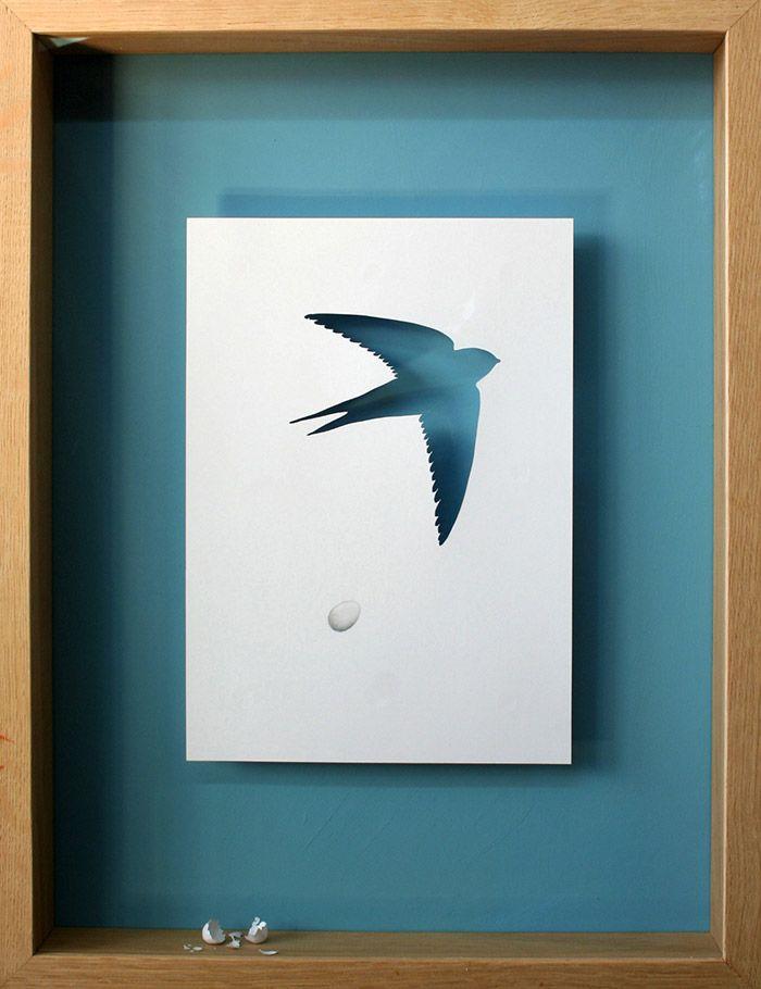 Peter Callesen - Paper Sculptures = Amazing! - Acid free A4 80 gms paper, glue, acrylic paint and oak frame. 47,5 x 37 x 7 cm