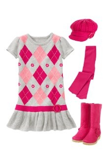 Gymboree Fall Line: Stylish in Argyle  Pretty argyle on a sweater dress for sweetness and style! Add a bright hat to match plus tights and fashionable faux suede boots.