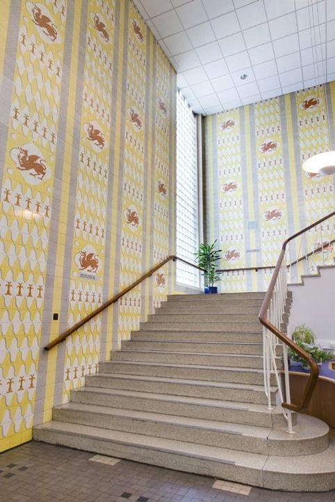 Tile mural at Glyndwyr University, Wrexham, c. 1950s