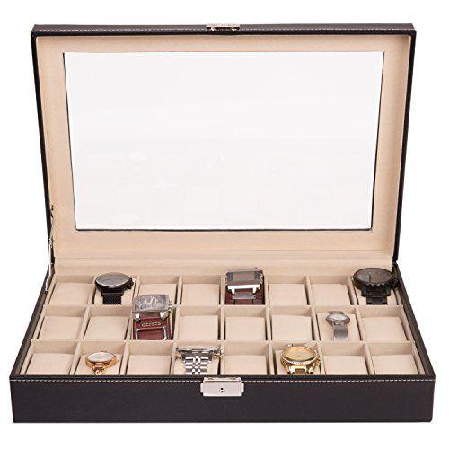 TRESKO® Uhrenbox für 24 Uhren Uhrenkasten Uhrenschatulle ... http://amzn.to/2zPJdqQ