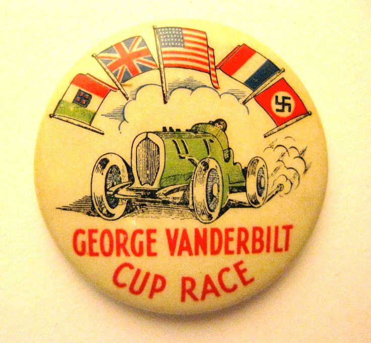 George Vanderbilt Cup Race Celluloid Pin