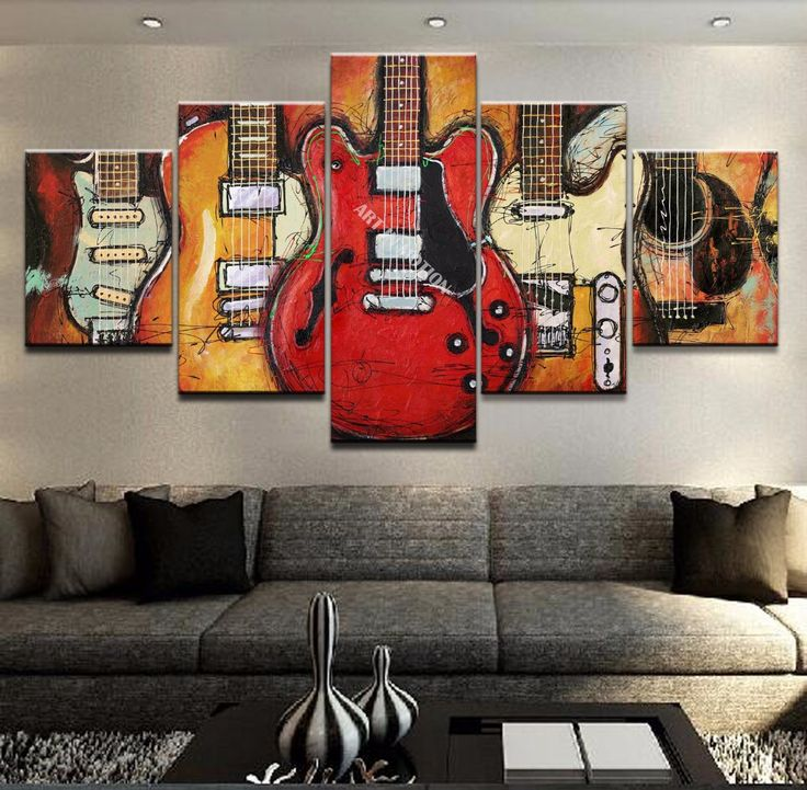 5 Piece Abstract Art Guitar Painting Extra Large Canvas