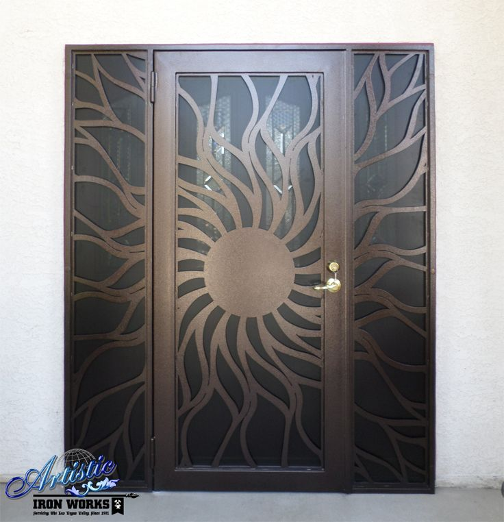 Custom cnc plasma cut iron screen sunburst security door for Door design cnc