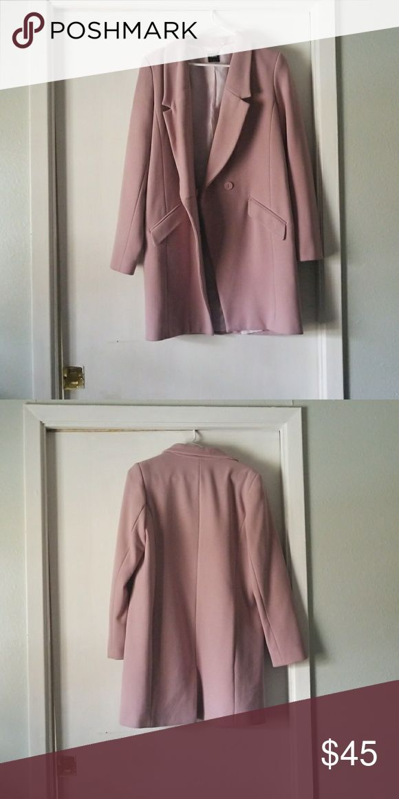 Mauve oasis coat perfect for spring Never been worn oasis coat with one front button. Perfect Easter color and perfect for spring in general Oasis Jackets & Coats Pea Coats