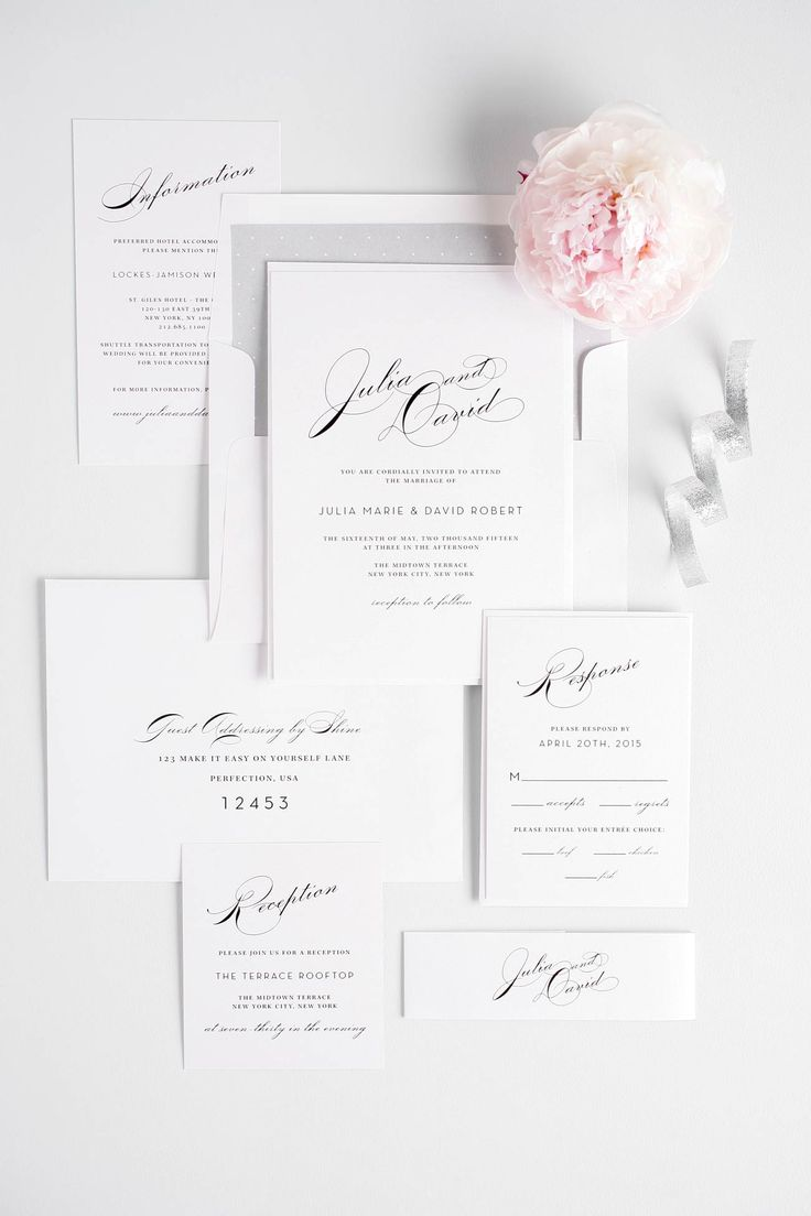 Glamorous wedding invitation suite in silver with vintage typography