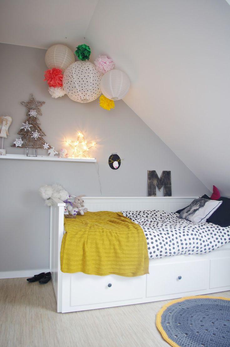 girls room, vintage nightstand, crochet rug, ikea Hemnes bed ...