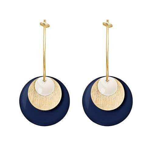 ENAMEL Copenhagen drops earring coin, white, gold, dark blue