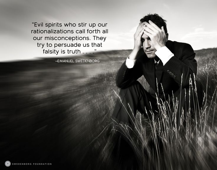 """""""[Evil spirits] who stir up our rationalizations call forth all our misconceptions. They try to persuade us that falsity is truth . . . ."""" —Emanuel Swedenborg, Secrets of Heaven §653  To learn more about this idea, check out our Swedenborg and Life episode, """"The Lies Evil Spirits Tell Us"""" here: https://www.youtube.com/watch?v=Qaqd9Fhsxpg&utm_content=buffer9e461&utm_medium=social&utm_source=pinterest.com&utm_campaign=buffer"""