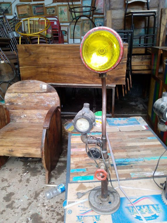 Vintage handmade industrial Yellow lamp, recycle material,  Funny bulb, Art decoration design lampe de salon,  steampunk