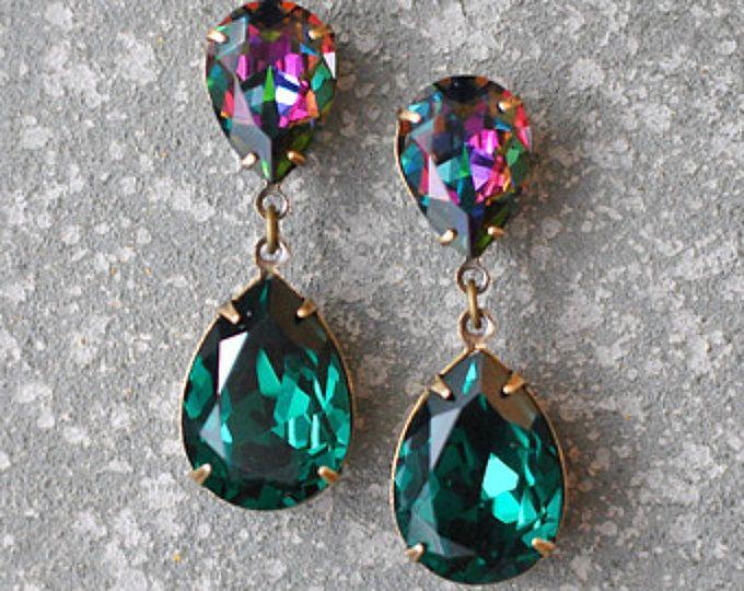 Pendientes verde esmeralda cristal Swarovski Rhinestone verde