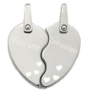 pendentif acier love duo en forme de coeur fendu en deux pour que chacun porte sa moiti. Black Bedroom Furniture Sets. Home Design Ideas
