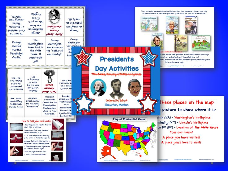 Presidents Day Freebies   Here are two freebie to help you through Presidents Day week! There are 2 Fact mini-books on George Washington and Abraham Lincoln.  Plus a freebie to review the difference between most of the patriotic holidays we have through the year: Presidents Day Memorial Day Flag Day Independence Day Constitution Day and Veterans Day. I don't know about you but my little second graders struggle to remember which one is which!  Click the images and come on over to Elementary…