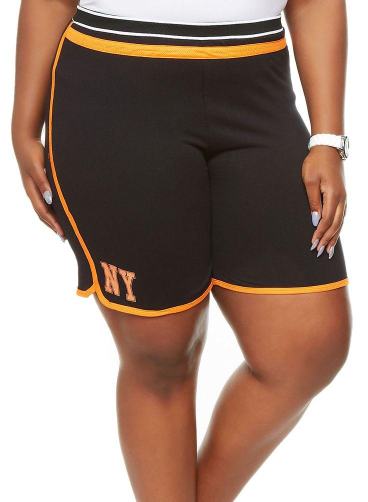 Rainbow Shops Plus Size NY Graphic Basketball Shorts with