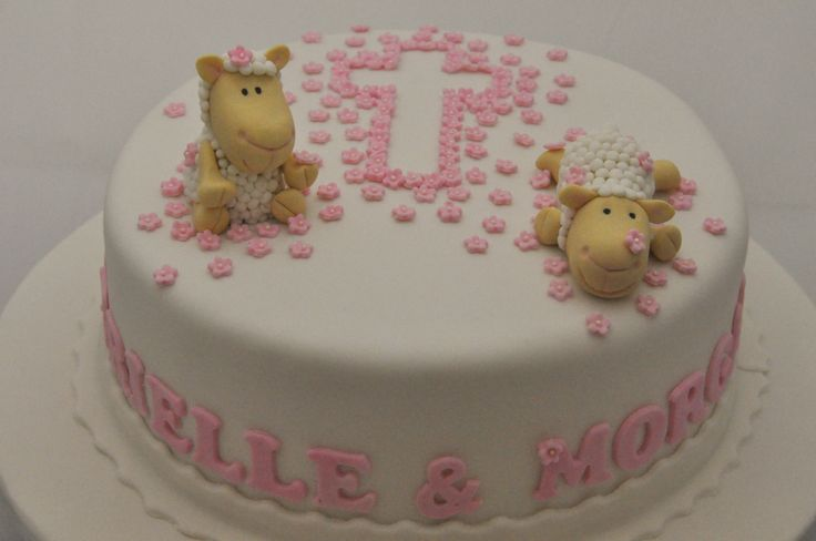 Pink Blossom Cross and sheep Christening Cake