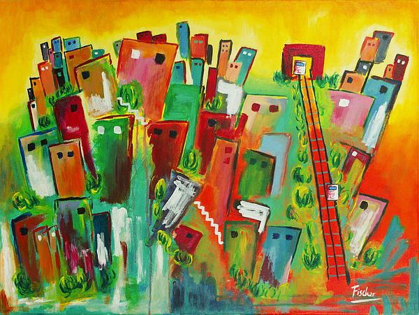 'Valparaíso looking at the sky', acrylic on canvas, 80x60cm, 2013 #art #painting #artist #acrylic #valparaiso #colorful #canvas #fischerart