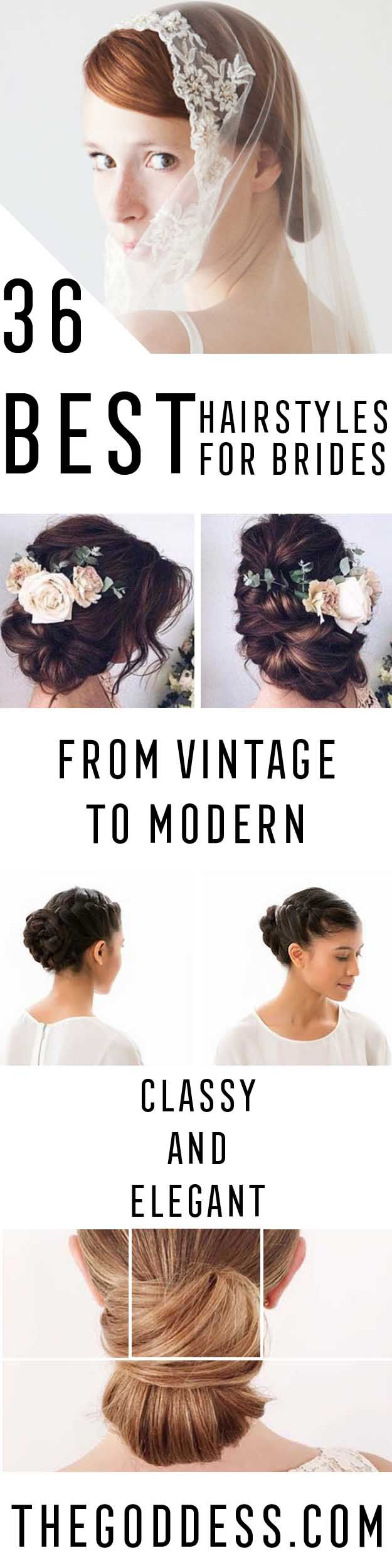 Best Hairstyles for Brides = - Amazing Hair Styles and Looks for Half Up Medium Styles, Updo With Long Hair, Short Curls, Vintage Looks with Veil, Headpieces, or With Tiara - Wedding Looks for Girls With Round Faces - Awesome Simple Bridal Style With Headband or Elegant Braided Up Dos - thegoddess.com/hairstyles-for-brides
