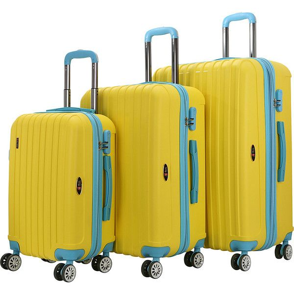 Brio Luggage Two-Tone Thick-Ribbed Expandable Suitcase Set - Yellow /... ($161) ❤ liked on Polyvore featuring bags, luggage and yellow