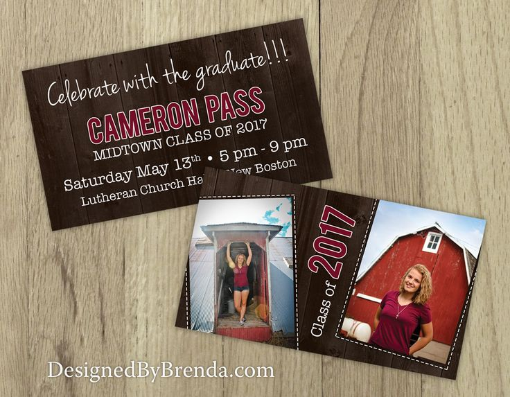 Mini Graduation Invitation Cards with Photos on Barn Wood - Background - Country Chic! DesignedByBrenda.com