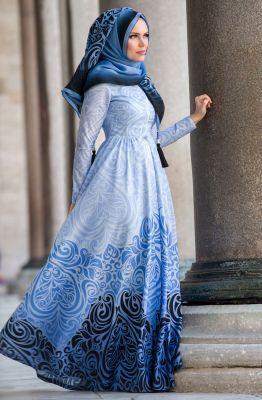 Muslima Wear Breeze Abiye Elbise 35009 Mavi