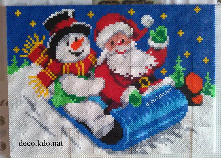 Christmas frame hama perler beads by Deco.Kdo.Nat