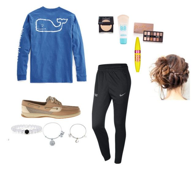 """Preppy lazy day"" by littlemisssassqueen ❤ liked on Polyvore featuring moda, Vineyard Vines, NIKE, Sperry Top-Sider, Maybelline e Alex and Ani"