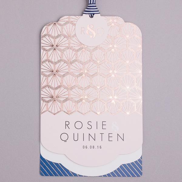 Portofino Luxe Invitation suite in Rose Gold foil on Blush & Navy