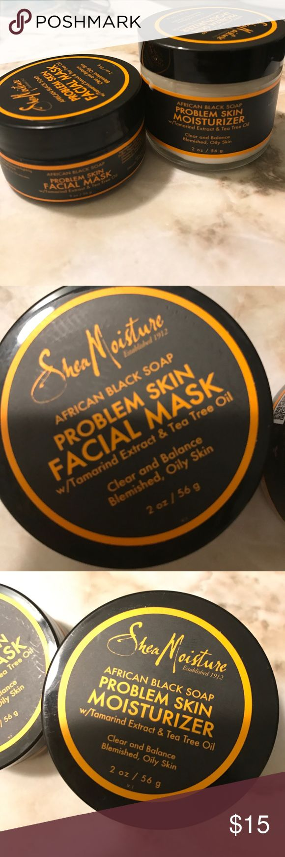 SHEA MOISTURE PROBLEM SKIN FACE MASK & MOISTURIZER barely used Shea Moisture facial mask and moisturizer! Great product for acne prone skin. Has Tea tree oil with tamarind extract. Beneficial for the oily skin types. shea moisture  Makeup