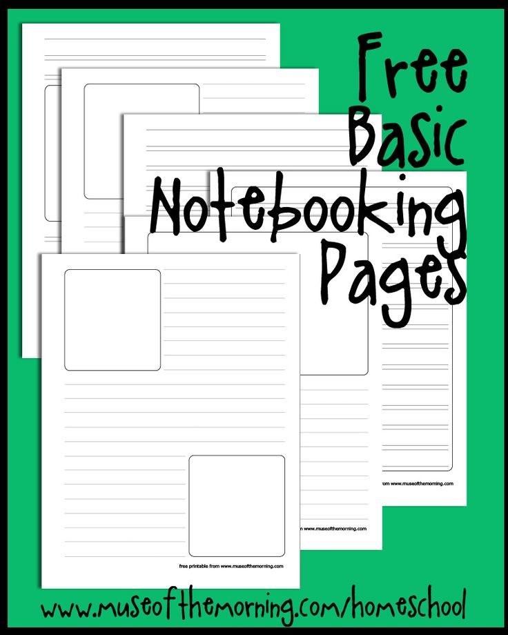 free basic notebooking pages printable pdf from Muse of the Morning homeschool