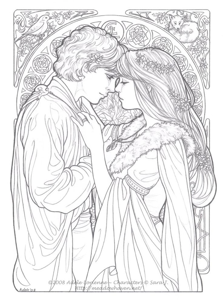 Art Nouveau Style - Be Mine Always - boy and girl Line art #love