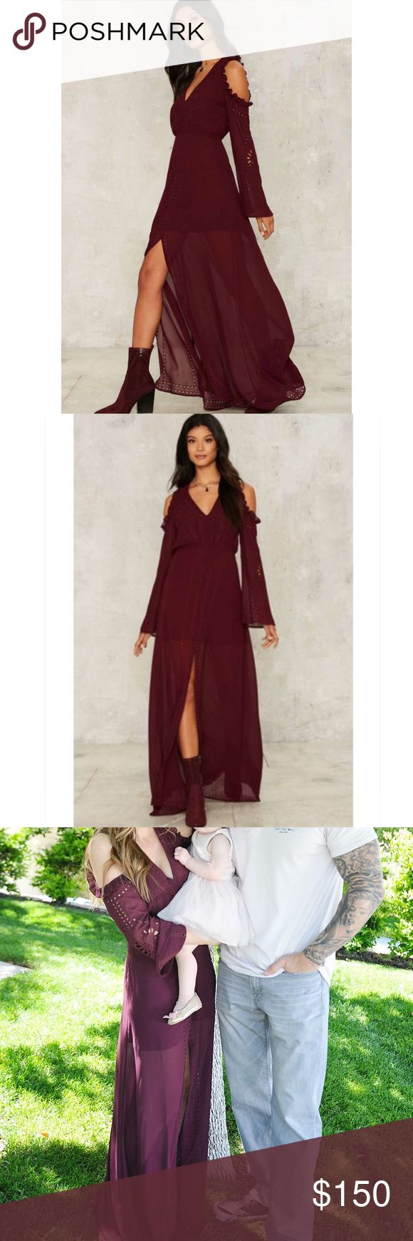 """Deep Maroon Foxiedox Brighton Maxi Dress Pre-owned, worn for my daughters first birthday. Literally brand new and in perfect condition. I still have the tags- just not attached. Size XS- but I fit it perfectly. I'm 5'4"""", 119lb 34D. Can fit a XS up to small medium. So beautiful for any special event. The color was listed as """"red"""" but it's a deep maroon shade in person. Very well made and so beautiful on. I paid $205 total for this dress- please do not lowball me. foxiedox Dresses Maxi"""