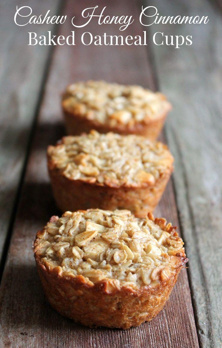 Cashew Honey Cinnamon Baked Oatmeal Cups   healthy make-ahead breakfast recipe   meal prep idea