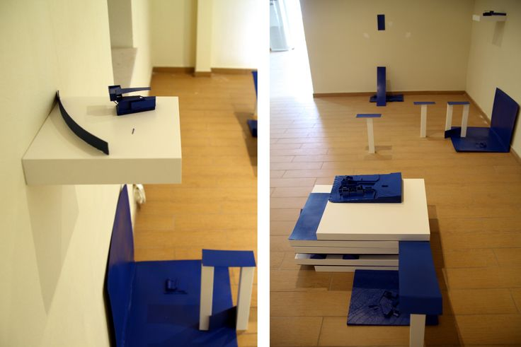 Giorgos Papadatos ,  Radical Resort L.t.d,  cardboard, prints on paper, IKEA tables, dimensions variable, The symptom projects, Amfissa, Greece, 2014